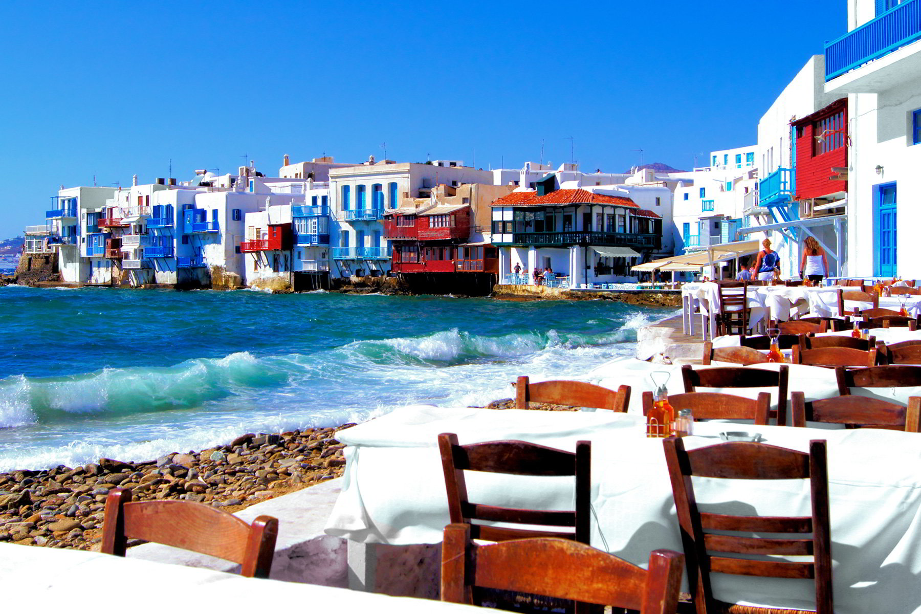 Big colorful little venice neighborhood of mykonos island