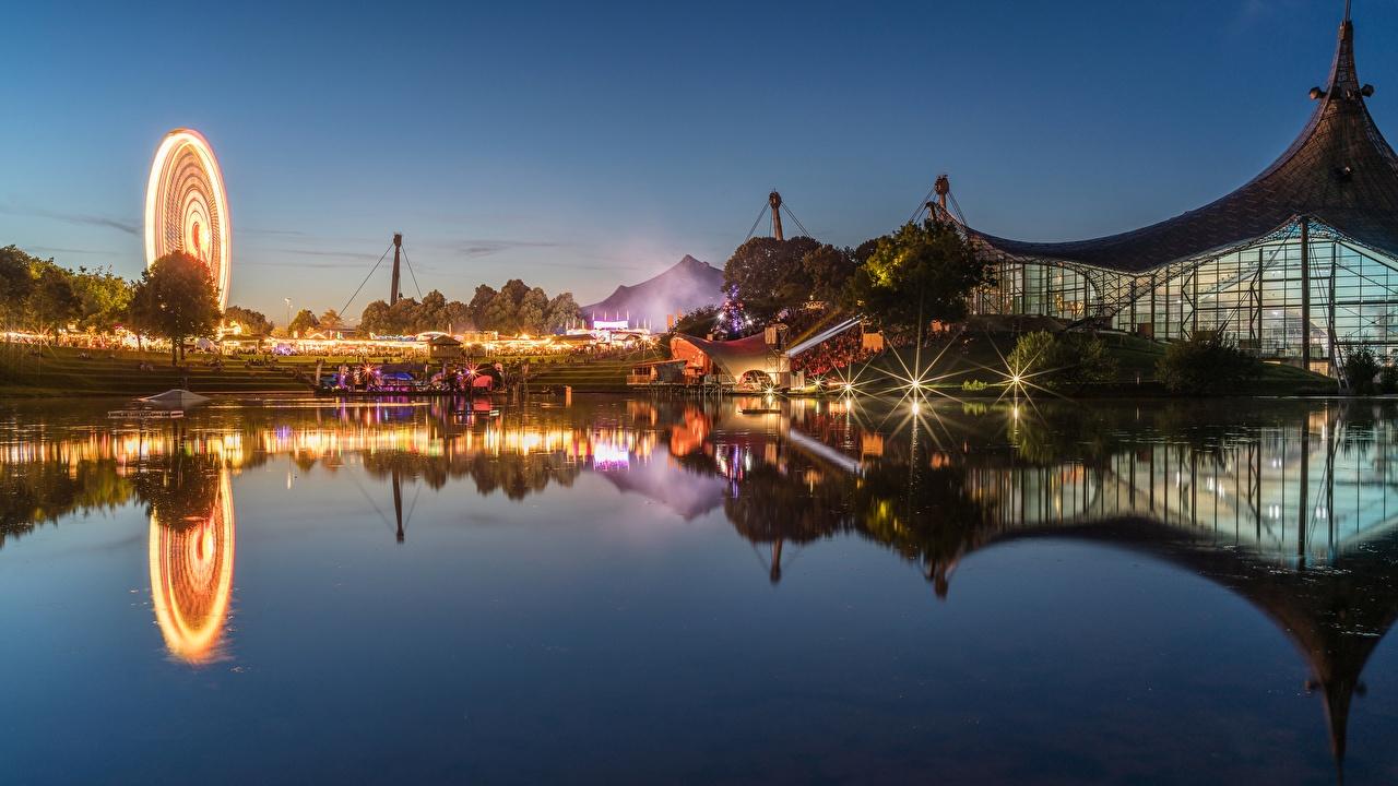 Big germany munich houses pond evening olympiapark 527163 1280x720